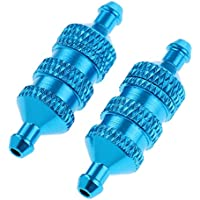 Gazechimp 2pcs 02156 Filtro De Combustible Piezas De Aluminio Para 1/8 1/10 Hsp Nitro Redcat Rc Coche - Azul