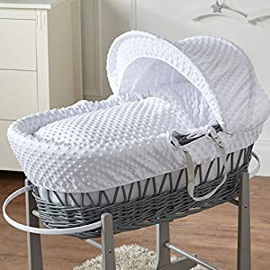 White Dimple Grey Wicker Moses Basket