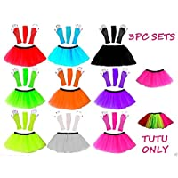 HOT NEON TUTU SKIRT FANCY DRESS SET 3PC LEGWARMERS FISHNET GLOVES 80