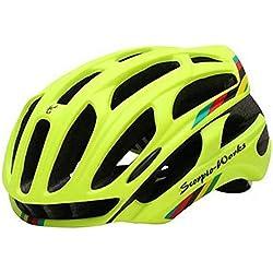 Queshark casco de ciclismo de carretera en la montaña en el molde de casco de bicicleta Ultraligero casco de bicicleta con luces de advertencia LED (Mate Fluo Verde, M)