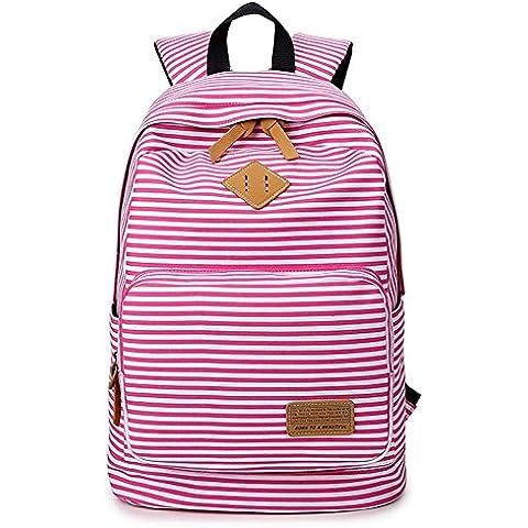 SANNU Girl Righe Scuola Zaini Adolescenti Outdoor Canvas Daypacks Backpack