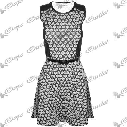 Pure Fashion Damen Skater-Kleid Ärmellos Mehrfarbig Coral - Belted Round Neck Daisy Flower Summer