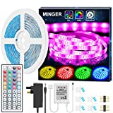 LED Strip Light Waterproof MINGER 5m RGB SMD 5050 LED Rope Lighting Color Changing Full Kit with 44-Keys IR Remote Controller & 2A Power Supply LED Lighting Strips for Home Kitchen Indoor Decoration