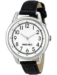 Nine West para mujer reloj infantil de cuarzo con esfera analógica blanca y negro correa de piel NW/1699wtbk