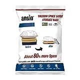 Set of 6-2 Large (100x80cm), 2 Medium (80x60cm) & 2 Small (60 x 50cm) Vacuum Compressed Space Saver Storage Bags.Vacuum Screw Pump Included