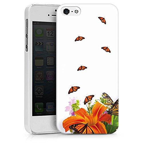 Apple iPhone X Silikon Hülle Case Schutzhülle Schmetterlinge Blume Lilie Hard Case weiß