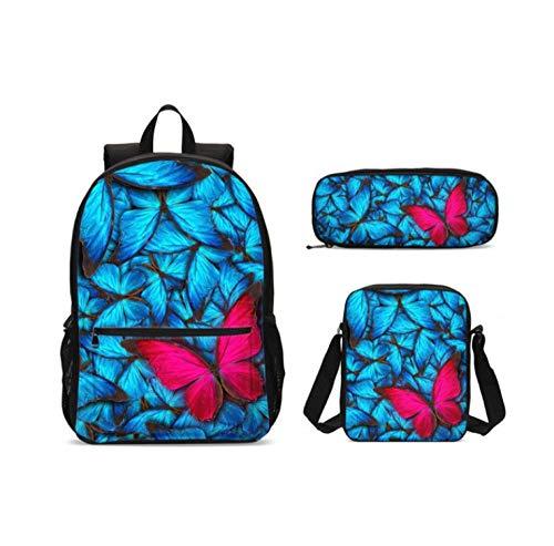 Blue Butterfly Kinder Schultasche Junior Girl Print Rucksack Schulrucksack 3 Teile/Satz Mochila Kinder Reiserucksack