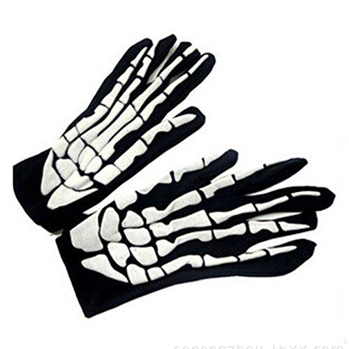 Jia Meng Halloween Horror Schädel Klaue Knochen Skelett Goth Racing Volle Handschuhe Halloween Halloween Kostüm Halloween Dekoration (Freie Größe, Weiß)