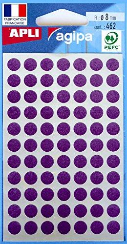 AGIPA Lot de 5 Sachets de 462 étiquettes Gommettes de signalisation Rondes 8mm Violet