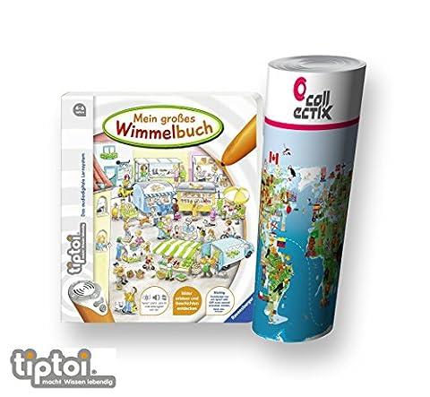 Ravensburger tiptoi ® Mein großes Wimmelbuch + Kinder Wimmel-Weltkarte - Länder, Tiere,