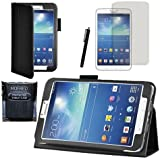 """MOFRED® Black Samsung Galaxy Tab 3 8"""" Case-MOFRED® Retail Packed Executive Multi Function Standby Case For Samsung Galaxy Tab 3 8.0 -8 inch Tablet + Screen Protector + Stylus Pen (Available in Mutiple Colors)"""