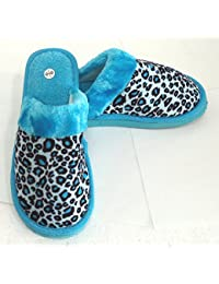 """Zapatillas para estar en casa. """"Leopardo, azul"""". Ligeras, cómodas y calentitas. De la talla 36 a la 41."""