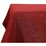 Deconovo Tafelkleed Linnenlook Waterproof Rechthoekige Afwasbaar Tafeldoek Lotuseffect voor Feestdag Eettafel Rood 132x229cm