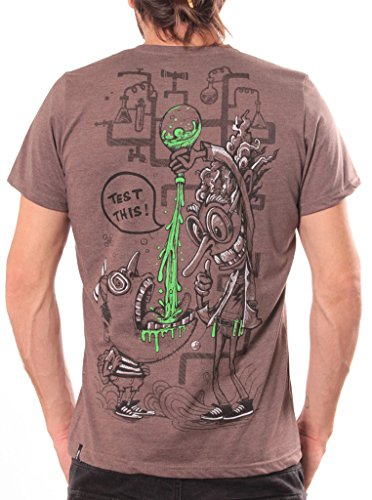 Graffiti Logo T-shirt (Herren T-Shirt mit Verrückter Wissenschaftler Test This Aufdruck - Braun - Large - handgefertigt durch Siebdruck)