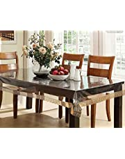 Kuber Industries PVC 6 Seater Transparent Dining Table Cover - Gold,CTCOMPST01