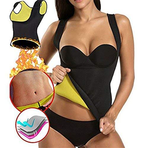 ARHSSZY Damen Plus Größe Neopren Abnehmen Weste Hot Body Shaper Taille Trainer Korsett für Gewicht Loss Sauna Schweiß Tank Top S-3X L, Damen, Schwarz, Small