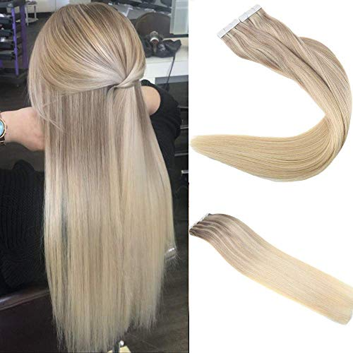 Easyouth Tape in Kleber Extensions 20 zoll 100g 40Pcs Pro Paket Balayage Farbe 18 Ash Blond Fading zu 22 Highlight mit 60 Blond Tape in Remy Haar Balayage