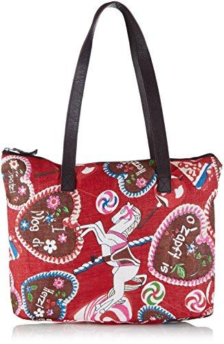 Alpenflüstern - Trachtentasche Lebkuchenherzen Dta045, cartella Donna Rosso (Rot)