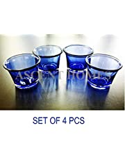 Ascent Homes Glass Tea Light Candle Holder (Blue) - Set of 4
