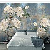Lifme Papier Peint Personnalisé Mur De Fleurs Aquarelle Vintage Scandinave Peint Par Peinture À L'Huile Papier Peint Blanc Rose Décoratif-350X250Cm