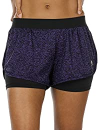 icyzone Damen Sport Shorts Kurze Hosen Sporthose - 2 in 1 Laufshorts Fitness Yoga Hot Pants