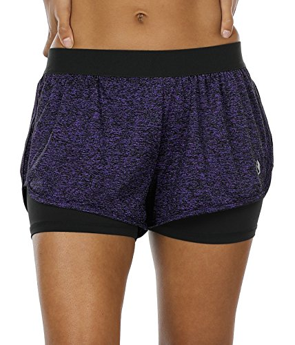 icyzone Damen Sport Shorts Kurze Hosen Sporthose - 2 in 1 Laufshorts Fitness Yoga Hot Pants (M, Purple)