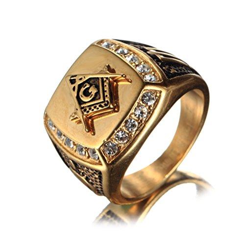 OAKKY Herren Edelstahl Masonic Freimaurer Ring mit Diamanten Biker Symbol Mitglied Band, Gold Schwarz Größe 66 (21.0) (Schwarzen Diamanten Ringe Gold)