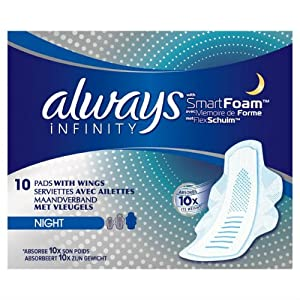Always Infinity Night Sanitary Towels with Wings 10 per pack Case of 4