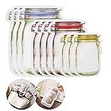 Juego de 10 bolsas de almacenamiento de alimentos con cremallera para tarros de Mason, bolsas de silicona reutilizables, bolsas de almacenamiento de alimentos, bolsas de silicona herméticas,bolsas de ahorro de alimentos a prueba de fugas (L/1000x3+M/500x4+S/150x3)