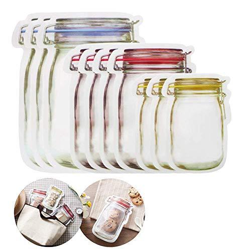 10 Stück Mason Flasche Einmachglas Design Lebensmittel Beutel Taschen Wiederverwendbar Druckverschlussbeutel Kunststoff Tasche Luftdichten für Lebensmittel Aufbewahrungsbeutel Taschen Kekse Beutel Cracker Jar-set