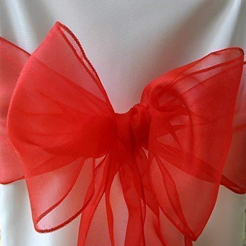 100 Red Organza Banda Arco CUBIERTA PARA SILLA Y bodas