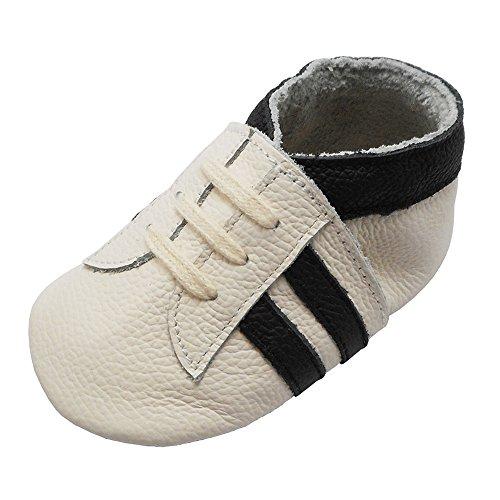 YIHAKIDS Babyschuhe Echtleder Weiche Wildleder Sohle Schuhe Kleinkind Lauflernschuhe Erste Walker Mokassins Multi-Farben Weichen Sneaker(Weiß mit Schwarzen Streifen,18-24 Monate)
