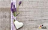 matches21 Küchenläufer Lavendel & Herz auf Holzbrett Holz Holzoptik als Teppichläufer 50x80 cm Maschinenwaschbar Rutschfest Teppich