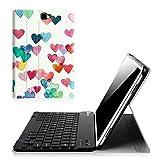 Fintie Bluetooth Tastatur Hülle für Samsung Galaxy Tab A 10,1 Zoll T580N / T585N Tablet - Ultradünn leicht Schutzhülle mit magnetisch Abnehmbarer Drahtloser Deutscher Bluetooth Tastatur, Herzregen