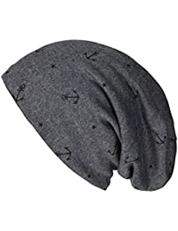 caripe warme Winter Mütze Fleece Innenfutter gefüttert Long Beanie Anker Stern - ankerstar-fleece