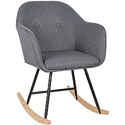 WOLTU® SKS04dgr Chaise à Bascule Pieds en Acier Fauteuil à Bascule Assise en Lin,Gris Foncé