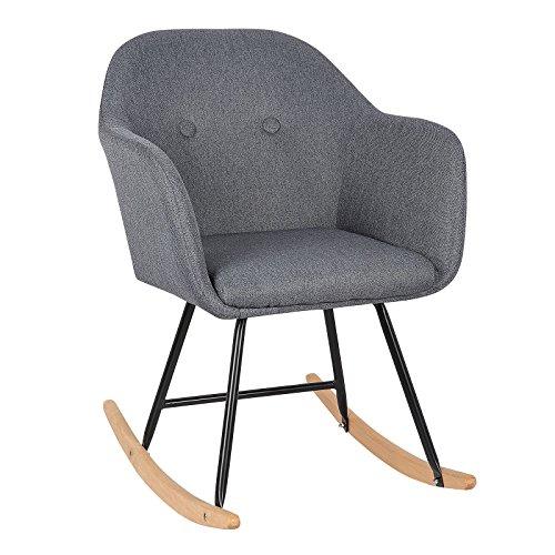 *Leinenstoff Schaukelstuhl von Woltu in dunkelgrau mit Kufen aus Holz und Stahlrahmen SKS04dgr*