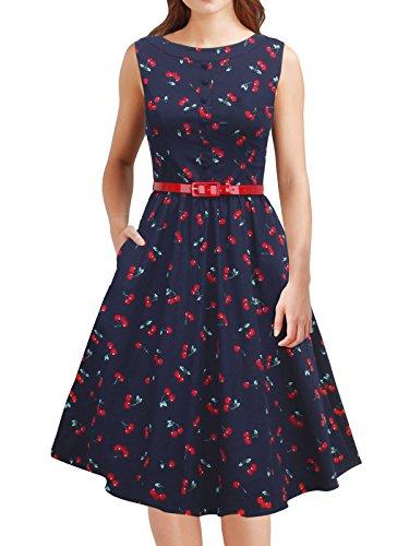 Jahre Tanz Kostüme 40er (iLover Frauen 50er Jahre Vintage Hepburn Button Dekoration Swing Party Cocktail BallGown Druck)