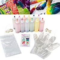 Star Eleven 12pcs Colours Tie-Dye Kit Fabric Textile Paints Tie Dye Kit Vibrant Fabric Textile Permanent Paint Colours Refurbished Dye Kit