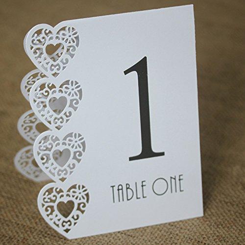 Club Green Numéros de Table 1 à 15 – Découpe au Laser, Coeur, Blanc, 125 x 155 x 40 mm, Lot DE 15