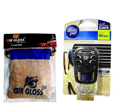 Combo - Auto Pearl - Premium Potli Jute Bag Car/Home/Office Air Freshner Diffuser Sachet - Coffee& Ambi Pur Starter Kit 7. 5 ml - Vanilla Bouquet  available at amazon for Rs.544