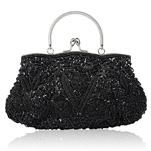 Damen Handgemachte Perle Handtasche, Abendtasche Damen Clutch Für Party, Hochzeit (Schwarz) (Pailletten-handtasche Floral)