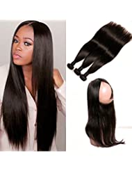 Daimer 360 Lace Frontal Closure Tissage Bresilien 3 Paquets Straight Hair avec Full Lace Wig Virgin Cheveux Humains...