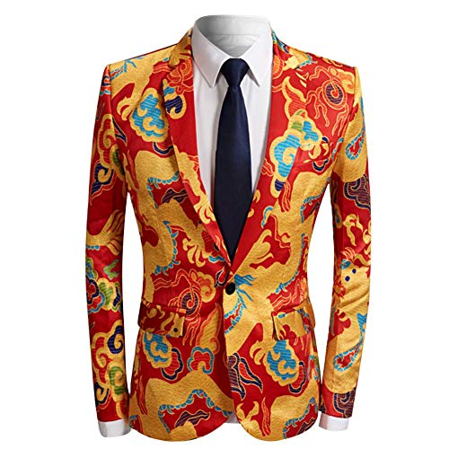 Herren Fashion Slim Fit Casual Print EIN-Knopf Anzug Jacke Blazer - Gelb - XX-Large (Plaid Gelb Blazer)