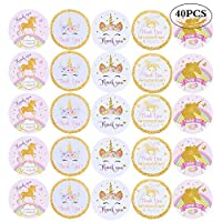 VEYLIN 40 Pieces Thank You Unicorn Stickers Self Adhesive for Kids Birthday Party Supplies