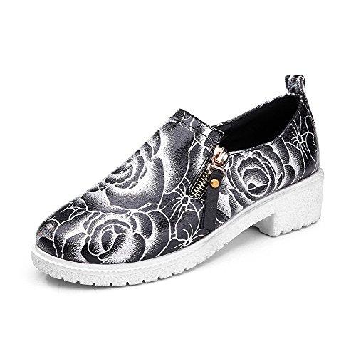 VogueZone009 Femme Fermeture D'Orteil Rond à Talon Bas Couleurs Mélangées Zip Chaussures Légeres Noir