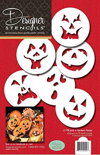 Designer Schablonen C178Kürbis Halloween Gesichter Kuchen Schablonen, beige/Halbtransparent