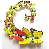 HuaYang 12 Pcs 3D papillon multi-couleurs sticker mural décor de la maison(Yellow)