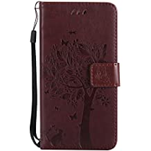 Mokyo Flip Wallet Case for Samsung Galaxy J5 2017/J530 [with Free Stylus Pen],Premium Soft PU Leather Embossed Cat Butterfly Tree Pattern with [Card Slots][Magnetic Closure][Stand Function] Vintage Slim Folio Book Style 360 Protection Cover Shell + Detachable Hand Strap for Samsung Galaxy J5 2017/J530 - Brown
