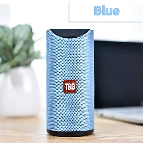 Etbotu,Bluetooth Lautsprecher,Tragbarer Außenlautsprecher Drahtlose Mini Säule 3D 10 Watt Stereo Musik Surround Unterstützung FM TF Karte Bass Box,Blau